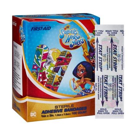 Adhesive Strip American® White Cross Stat Strip® 3/4 X 3 Inch Plastic Rectangle Kid Design (DC Super Hero Girls) Sterile Product Image