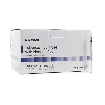 TUBERCULIN SYRINGE WITH NEEDLE, 1mL 27GAUGE 1/2 INCH, DETACHABLE NEEDLE WITHOUT SAFETY (100/BOX)