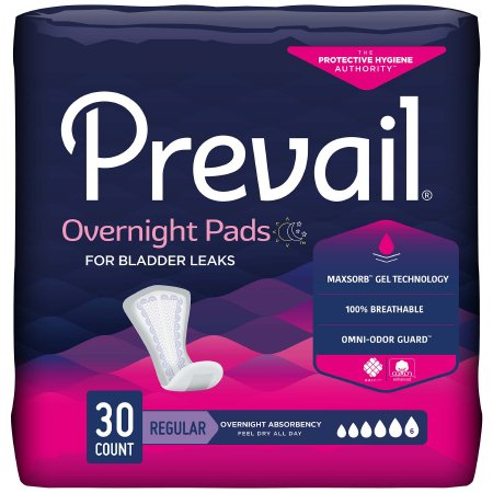 Bladder Control Pad Prevail® Daily Pads Overnight 16 Inch Length Heavy Absorbency Polymer Core One Size Fits Most Adult Female Disposable Product Image