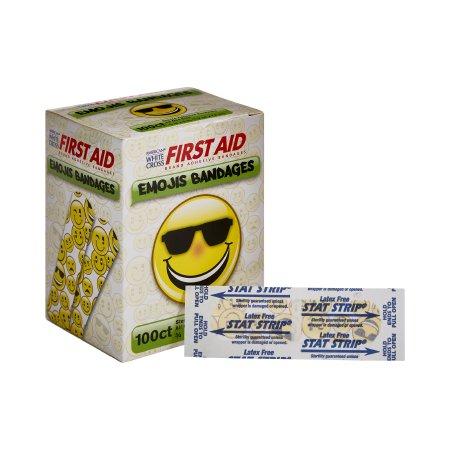 Adhesive Strip American® White Cross Stat Strip® 3/4 X 3 Inch Plastic Rectangle Kid Design (Emojis) Sterile Product Image