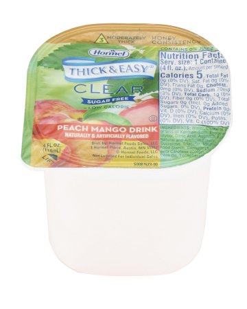 Thickened Beverage Thick & Easy® Sugar Free 4 oz. Portion Cup Peach Mango Flavor Ready to Use Honey Consistency Product Image