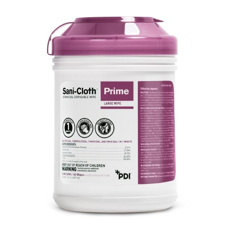 Sani-Cloth® Prime Surface Disinfectant Cleaner Premoistened Germicidal Wipe 160 Count Canister Disposable Alcohol Scent NonSterile Product Image