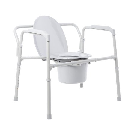 Folding Commode Chair McKesson Fixed Arm Steel Frame Back Bar 13-3/4 Inch Seat Width Product Image