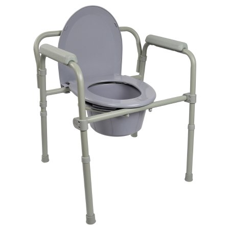 Commode Chair Mckesson Fixed Arm Steel Frame Seat Lid Back 16.6 To 22.5 h Qnt