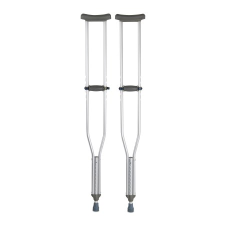 Underarm Crutches McKesson Aluminum Frame Tall Adult 350 lbs. Weight Capacity Push Button Adjustment Product Image