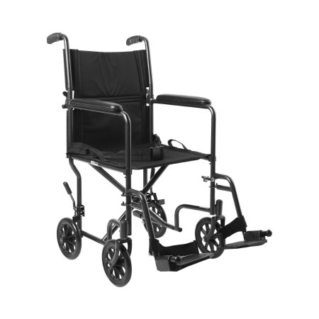 Lightweight Transport Chair McKesson Steel Frame with Silver Vein Finish 250 lbs. Weight Capacity Fixed Height / Padded Arm Black Upholstery Product Image