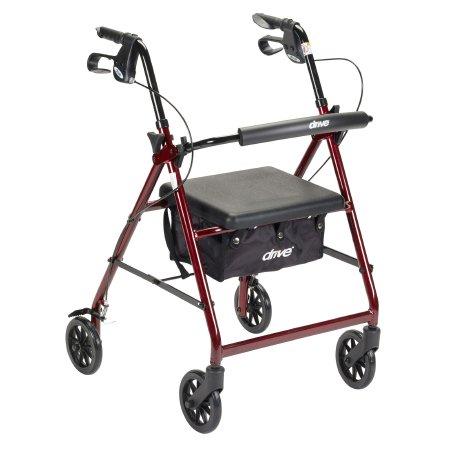 McKesson 4-wheel rollator, 6 in. Wheel, 32 - 37 in. Handle, Red, 300 lbs, Aluminum Frame