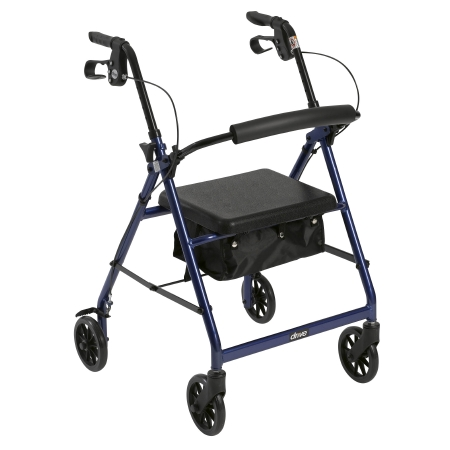 4 Wheel Rollator McKesson 32 to 37 Inch Blue Folding Aluminum 32 to 37 Inch Qnty