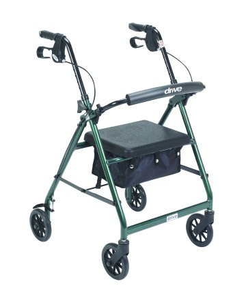4 Wheel Rollator McKesson 32 to 37 Inch Green Folding Aluminum 32 to 37 Inch Qnt