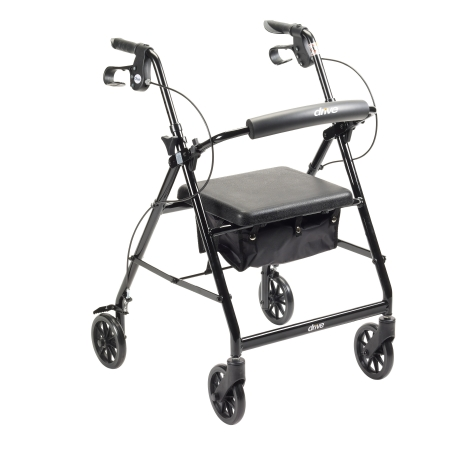 4 Wheel Rollator McKesson 32 to 37 Inch Black Folding Aluminum 32 to 37 Inch Qnt