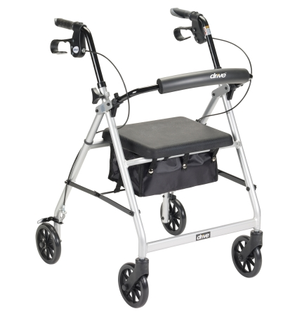 4 Wheel Rollator McKesson 32 to 37 Inch Silver Folding Aluminum 32 to 37 Inch Qn
