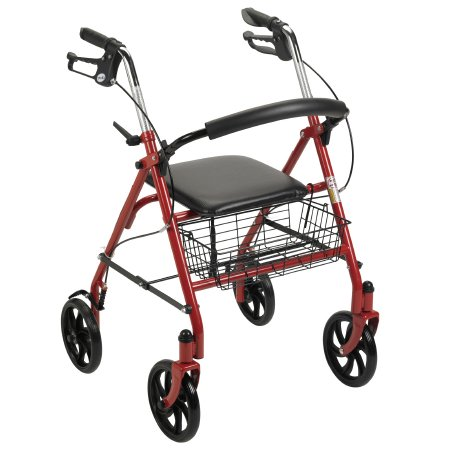 McKesson 4-Wheel Rollator, 7.5 in. wheel, 31 - 37 in. Handle, Red, 300 lbs., Steel Frame
