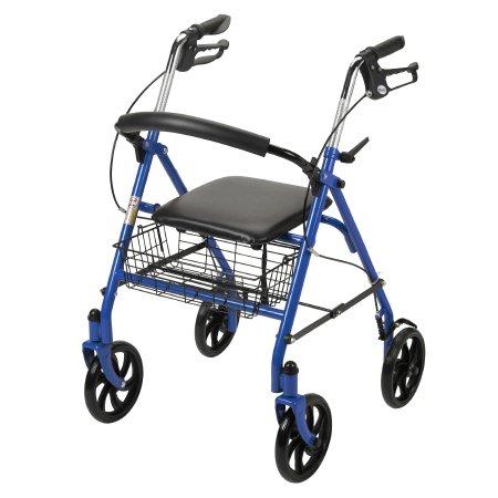 4 Wheel Rollator McKesson 31 to 37 Inch Blue Folding Steel 31 to 37 Inch Qnty: O
