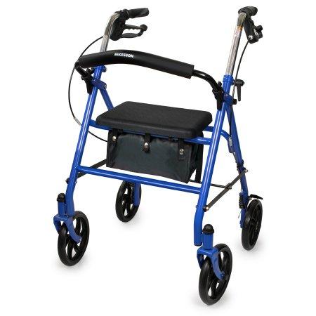 4 Wheel Rollator McKesson Blue Folding Steel Frame Product Image