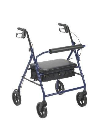4 Wheel Rollator McKesson 34 to 39 Inch Blue Folding Steel 34 to 39 Inch Qnty: O
