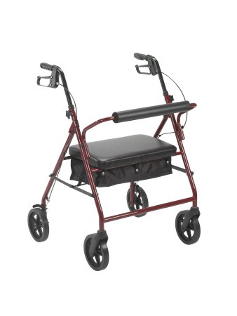 4 Wheel Rollator McKesson 34 to 39 Inch Red Folding Steel 34 to 39 Inch Qnty: On