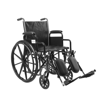 Wheelchair McKesson Dual Axle Desk Length Arm Removable Padded Arm Style Composite Wheel Black Upholstery 18 Inch Seat Width 300 lbs. Weight Capacity Product Image
