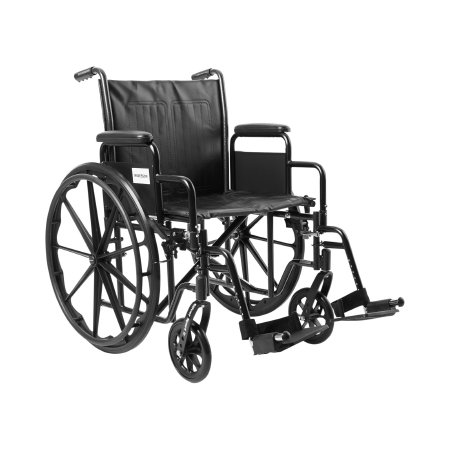 Wheelchair McKesson Dual Axle Desk Length Arm Removable Padded Arm Style Composite Wheel Black Upholstery 20 Inch Seat Width 350 lbs. Weight Capacity Product Image