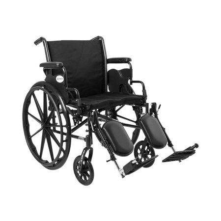 Lightweight Wheelchair McKesson Dual Axle Desk Length Arm Flip Back / Removable Padded Arm Style Composite Mag Wheel Black Upholstery 20 Inch Seat Width 300 lbs. Weight Capacity Product Image
