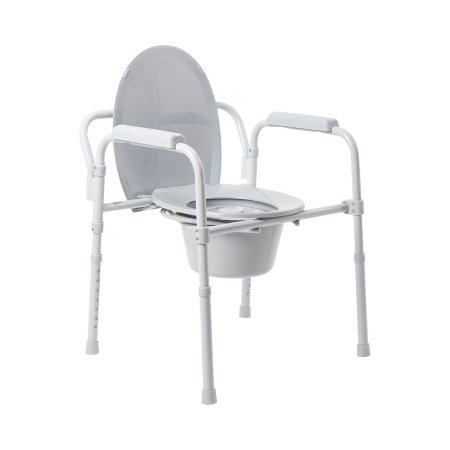 Folding Commode Chair McKesson Fixed Arm Steel Frame Back Bar 13-1/4 Inch Seat Width Product Image
