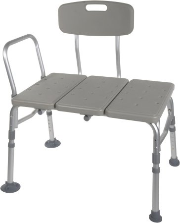 drive™ Knocked Down Bath Transfer Bench Arm Rail 17-1/2 to 21-1/2 Inch Seat Height 400 lbs. Weight Capacity Product Image