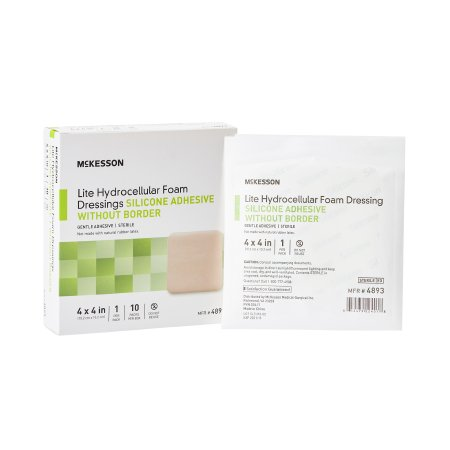 Thin Silicone Foam Dressing McKesson Lite 4 X 4 Inch Square Silicone Gel Adhesive without Border Sterile Product Image