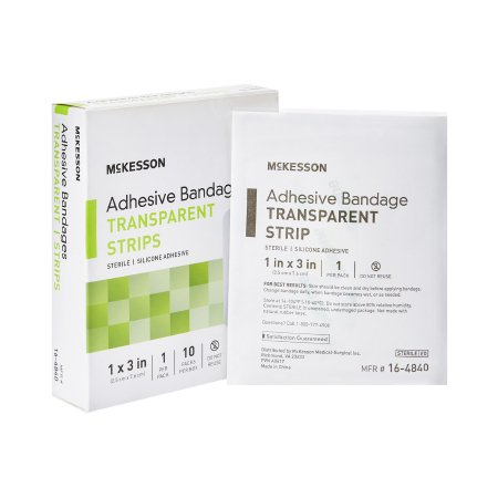 Adhesive Strip McKesson 1 X 3 Inch Silicone Rectangle Sheer Sterile Product Image