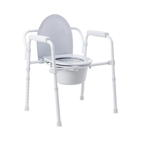 Folding Commode Chair McKesson Fixed Arm Steel Frame Back Bar 13-1/2 Inch Seat Width Product Image