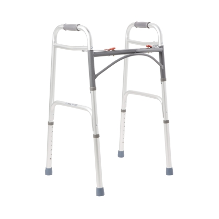 Folding Walker Adjustable Height McKesson Aluminum Frame 350 lbs. Weight Capacity 32 to 39 Inch Height Product Image
