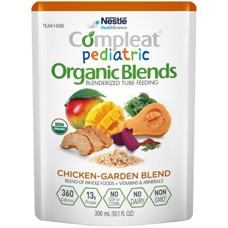 Pediatric Oral Supplement / Tube Feeding Formula Compleat® Pediatric Organic Blends Chicken-Garden Flavor 10.1 oz. Pouch Ready to Use Product Image