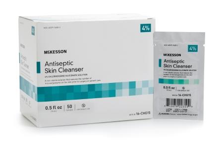 Antiseptic Skin Cleanser McKesson 15 mL Individual Packet 4% Strength CHG (Chlorhexidine Gluconate) / Isopropyl Alcohol (50/box)