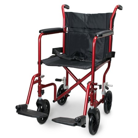 Lightweight Transport Chair McKesson Aluminum Frame with Red Finish 300 lbs. Weight Capacity Flared Arm Black Upholstery Product Image