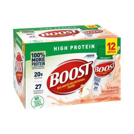 Oral Supplement Boost® High Protein Creamy Strawberry Flavor Ready to Use 8 oz. Bottle Product Image