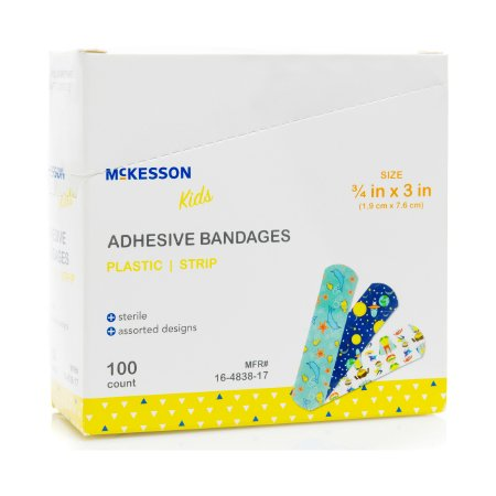 Adhesive Strip McKesson Kids™ 3/4 X 3 Inch Plastic Rectangle Kid Design (Assorted Prints) Sterile Product Image