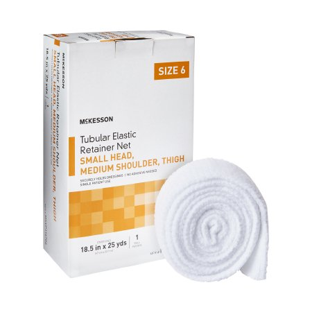 Tubular Bandage McKesson Tubular Elastic Net 18-1/2 Inch X 25 Yards (47 cm X 22.9 m) Size 6 White NonSterile Small Head, Medium Shoulder, Thigh Product Image