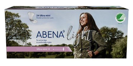 Bladder Control Pad Abena™ Light Ultra Mini 8 Inch Length Light Absorbency Fluff / Polymer Core One Size Fits Most Adult Unisex Disposable Product Image