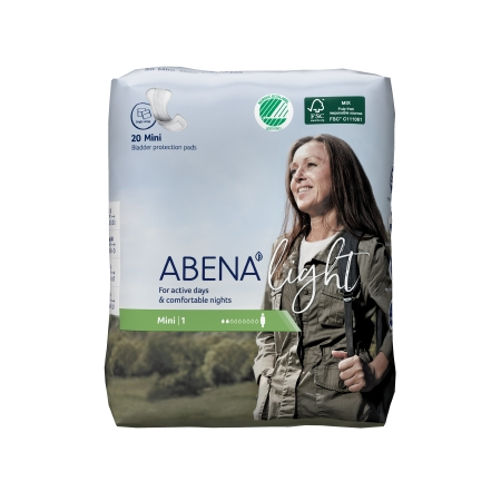Bladder Control Pad Abena™ Light Mini 8-1/2 Inch Length Light Absorbency Fluff / Polymer Core One Size Fits Most Adult Unisex Disposable Product Image