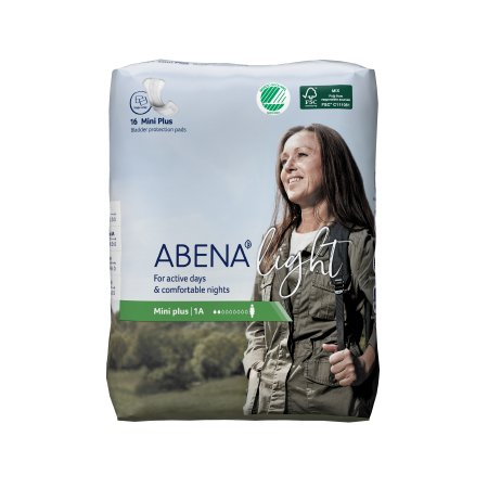 Bladder Control Pad Abena™ Light Mini Plus 11 Inch Length Light Absorbency Fluff / Polymer Core One Size Fits Most Adult Unisex Disposable Product Image