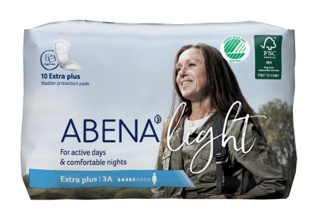 Bladder Control Pad Abena™ Light Extra Plus 13 Inch Length Moderate Absorbency Fluff / Polymer Core One Size Fits Most Adult Unisex Disposable Product Image
