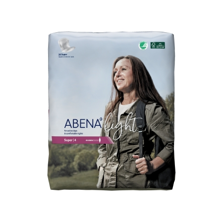 Bladder Control Pad Abena™ Light Super 17 Inch Length Moderate Absorbency Fluff / Polymer Core One Size Fits Most Adult Unisex Disposable Product Image