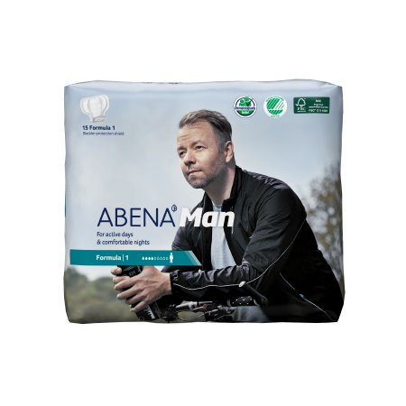 Bladder Control Pad Abena™-Man 11 Inch Length Light Absorbency Fluff / Polymer Core Formula 1 Adult Male Disposable Product Image
