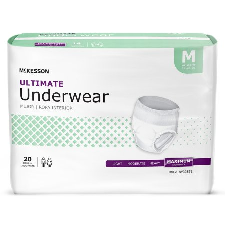 Unisex Adult Absorbent Underwear McKesson Pull On with Tear Away Seams Medium Disposable Heavy Absorbency Product Image