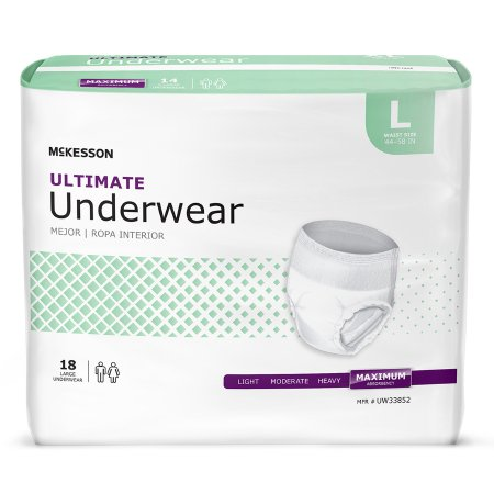 Unisex Adult Absorbent Underwear McKesson Pull On with Tear Away Seams Large Disposable Heavy Absorbency Product Image