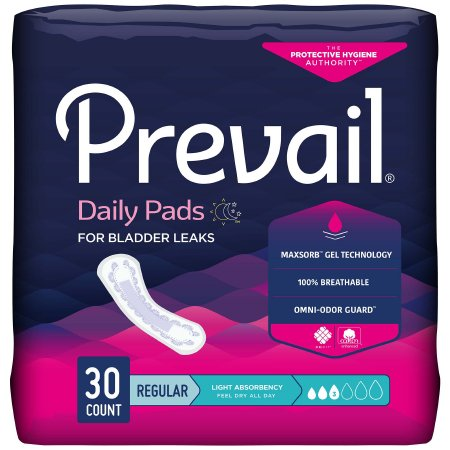 Bladder Control Pad Prevail® Daily Pads 9-1/4 Inch Length Light Absorbency Polymer Core One Size Fits Most Adult Female Disposable Product Image