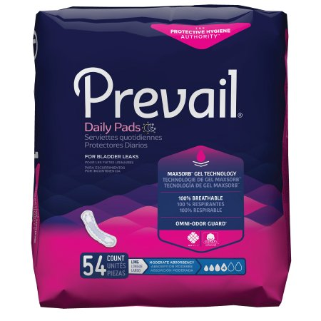 Bladder Control Pad Prevail® Daily Pads 11 Inch Length Moderate Absorbency Polymer Core One Size Fits Most Adult Female Disposable Product Image