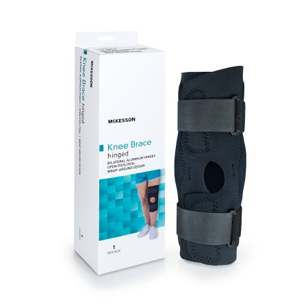 Knee Brace McKesson Medium Wraparound / Hook and Loop Straps with D-Rings 18 to 20-1/2 Inch Circumference Left or Right Knee Product Image