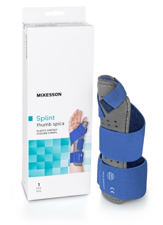 Thumb Splint McKesson Adult Large / X-Large Hook and Loop Strap Closure Right Hand Blue / Gray Product Image