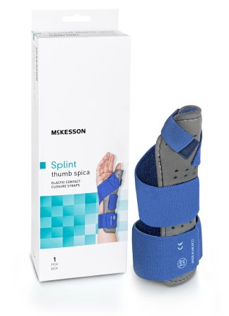 Thumb Splint McKesson Adult Large / X-Large Hook and Loop Strap Closure Left Hand Blue / Gray Product Image
