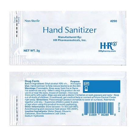 Hand Sanitizer HR® 3 Gram Ethyl Alcohol Gel Individual Packet Product Image