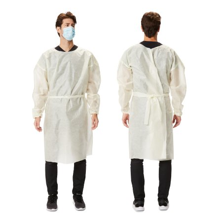Over-the-Head Protective Procedure Gown X-Large Yellow NonSterile AAMI Level 2 Disposable Product Image
